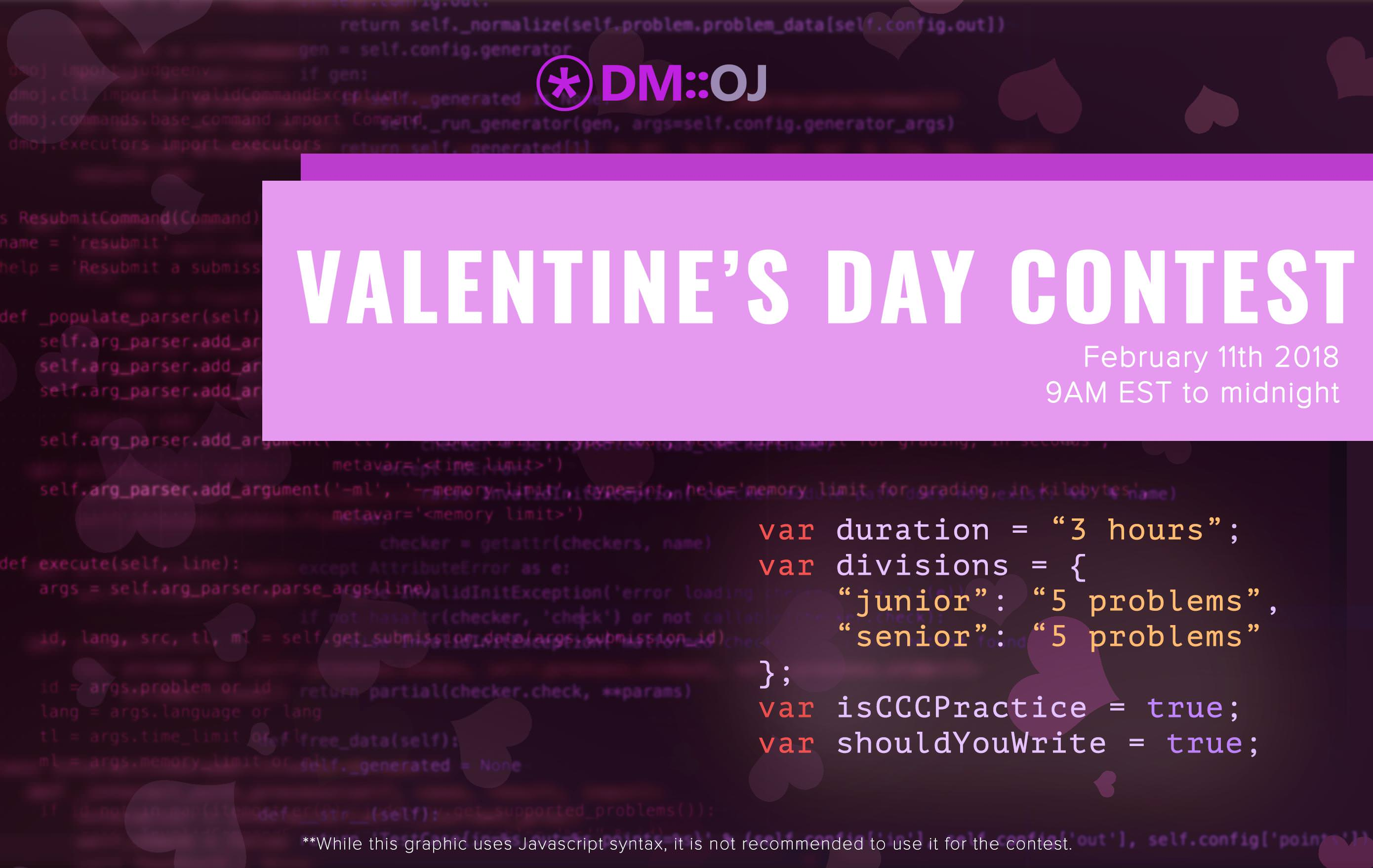 Valentine S Day Contest 2018 Dmoj Modern Online Judge